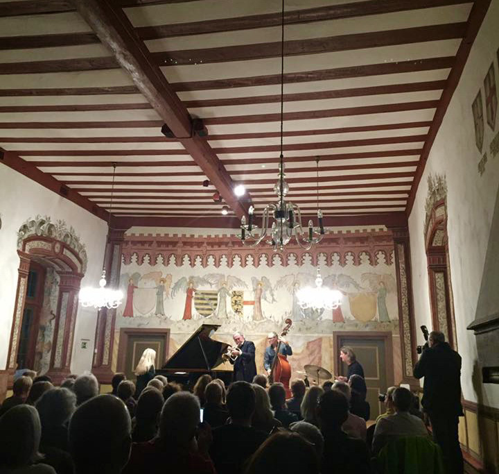 Concert with my trio featuring trumpet legend Franco Ambrosetti in Heppenheim, November 2018